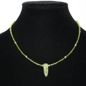 Lime green and gold natural stone necklace